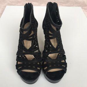 Black platform velvet heels